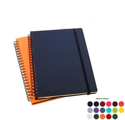 A4 WIRO NOTE BOOK in Black Belluno PU Leather