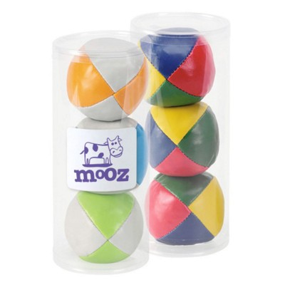 SET OF THREE CIRCUS STYLE JUGGLING BALLS in Clear Transparent Plastic Carrying Tube