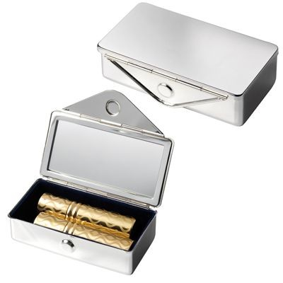 SILVER METAL LIPSTICK HOLDER with Mirror