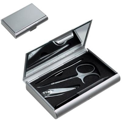 4 PIECE SILVER METAL MANICURE SET in Metal Box with Large Mirror Inside Lid