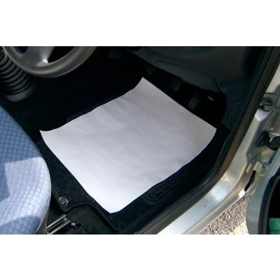 WHITE DISPOSABLE PAPER CAR MAT