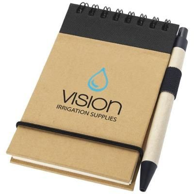 ZUSE A7 RECYCLED JOTTER NOTE PAD with Pen in Natural-black Solid