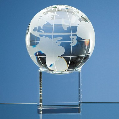 10CM OPTICAL GLASS GLOBE PAPERWEIGHT ON CLEAR TRANSPARENT BASE