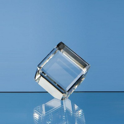 5CM OPTICAL CRYSTAL BEVEL EDGED CUBE