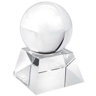 BALL AND BASE PAPERWEIGHT in White Glass