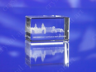CRYSTAL GLASS RECTANGULAR BLOCK PAPERWEIGHT or AWARD TROPHY with 3D Laser Engraved Image & Logo in C