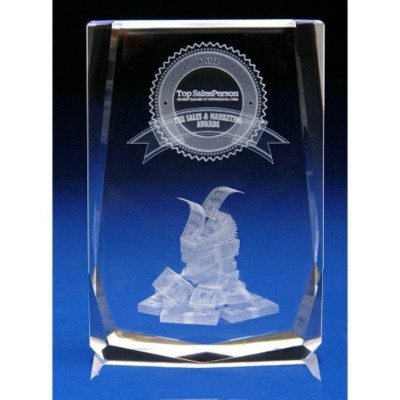CRYSTAL GLASS RETAIL PAPERWEIGHT OR AWARD