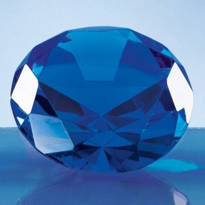 OPTICAL CRYSTAL BLUE DIAMOND GLASS PAPERWEIGHT