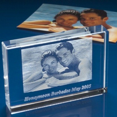PHOTO CUBE BLOCK ENGRAVED with Unique Photo in Crystal