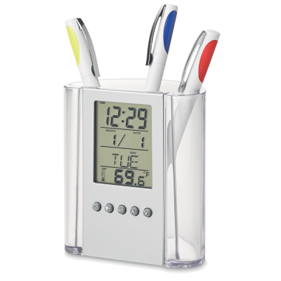 PEN POT HOLDER & CLOCK in Translucent Clear Acrylic