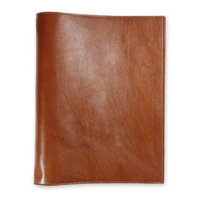 ECO VERDE GENUINE LEATHER NON-ZIPPED A5 RING BINDER in Tan