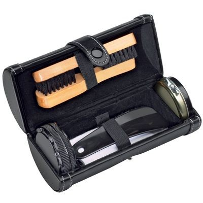 SHOE CLEANING KIT in Black Luxury Cylindrical Case with Zip