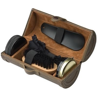 SHOE SHINE KIT in Brown PU Tube