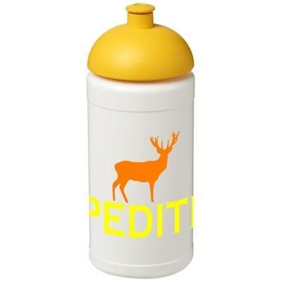 BASELINE® PLUS 500 ML DOME LID SPORTS BOTTLE in White Solid-yellow