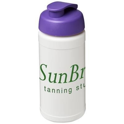 BASELINE® PLUS 500 ML FLIP LID SPORTS BOTTLE in White Solid-purple
