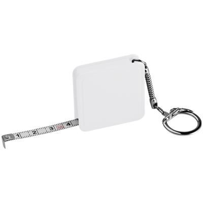 1 METER STEEL MEASURING TAPE with Keyring Chain in White