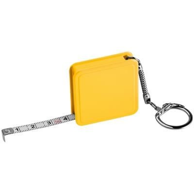 1 METER STEEL MEASURING TAPE with Keyring Chain in Yellow