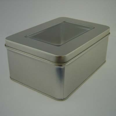 RECTANGULAR TIN with Window Lid in Matt Silver