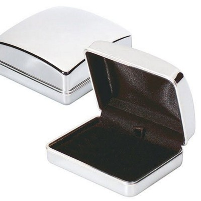 SILVER CHROME METAL CUFFLINK PRESENTATION BOX