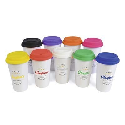 350ML DOUBLE WALLED PLASTIC TAKE-OUT STYLE COFFEE MUG with Colour Silicon Lid