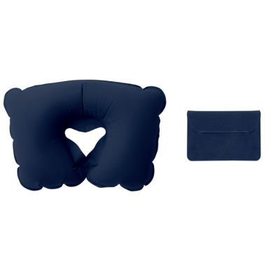 INFLATABLE TRAVEL PILLOW in Velvet Pouch in Blue