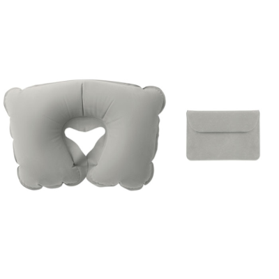 INFLATABLE TRAVEL PILLOW in Velvet Pouch in Grey
