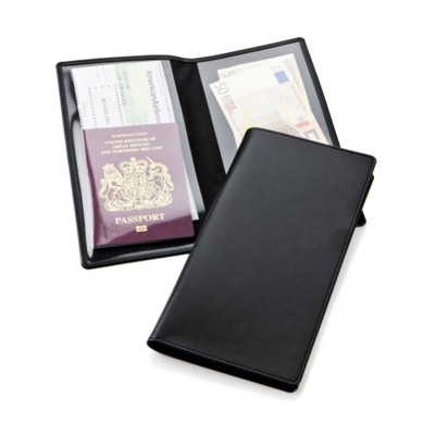 ECONOMY TRAVEL WALLET in Black Belluno PU