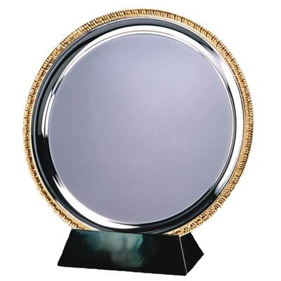 15CM SILVER METAL SALVER with Gold Ribbed Edge
