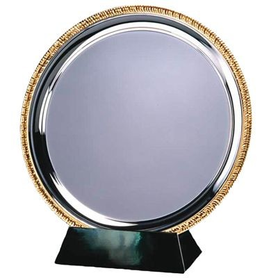 20CM SILVER METAL SALVER with Gold Ribbed Edge