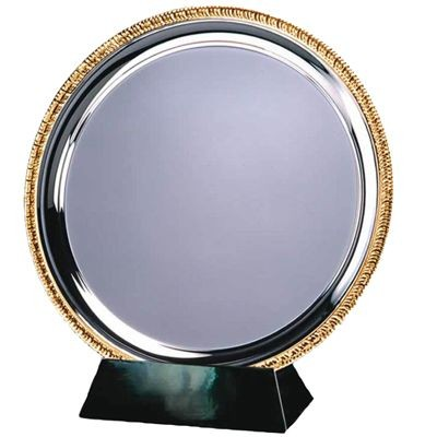 25CM SILVER METAL SALVER with Gold Ribbed Edge