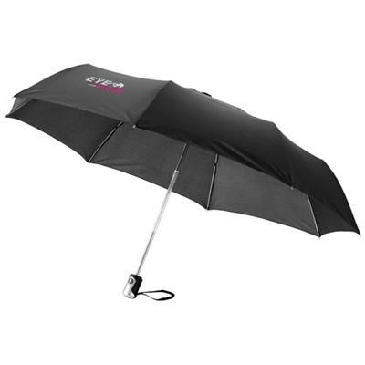 21 INCH ALEX 3-SECTION AUTO OPEN & CLOSE UMBRELLA in Black Solid