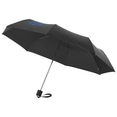 21 INCH IDA 3-SECTION UMBRELLA in Black Solid