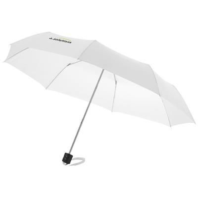 21 INCH IDA 3-SECTION UMBRELLA in White Solid