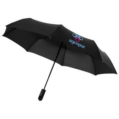 21 INCH TRAVELLER 3-SECTION AUTO OPEN & CLOSE UMBRELLA in Black Solid