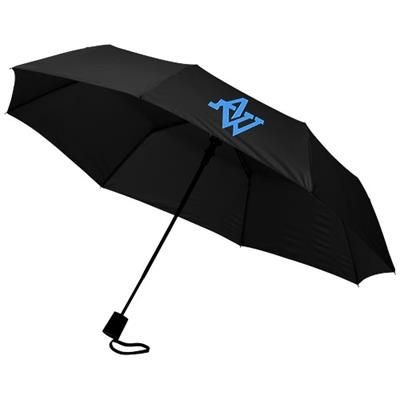 21 INCH WALI 3-SECTION AUTO OPEN UMBRELLA in Black Solid