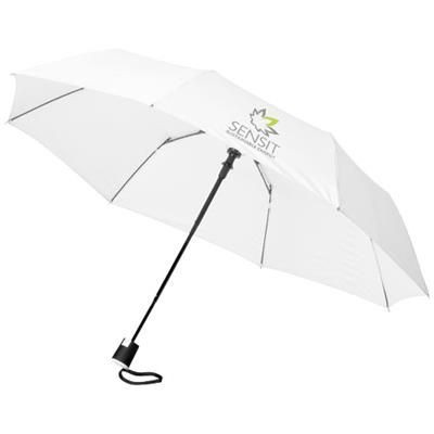 21 INCH WALI 3-SECTION AUTO OPEN UMBRELLA in White Solid