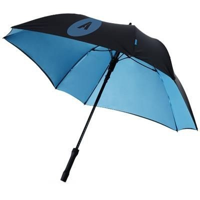 23 INCH SQUARE DOUBLE LAYER AUTOMATIC UMBRELLA in Black Solid-blue
