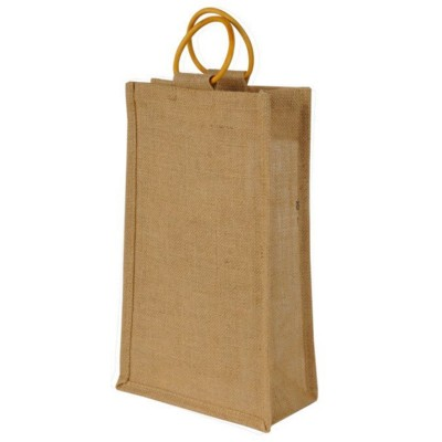 JUTE TWO BOTTLE BAG with Cane Handles in Natural