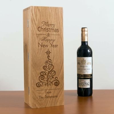 OAK WOOD WINE BOX with Hinge