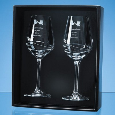 2 DIAMANTE WINE GLASS SET with Modena Spiral Cutting